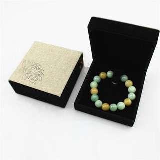 Beautiful Lotus Design Canvas Bracelet Box