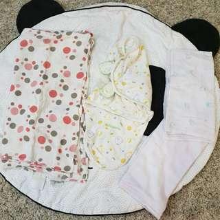 {4 items-$5} aden anais Swaddle, kiddopotamus Swaddleme 100% cotton & 2 pc blanket