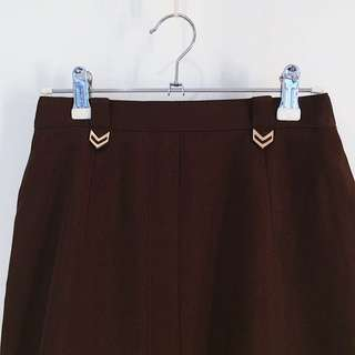 Lepia ✼四個︾金扣咖啡裙✼ 深棕色 橢圓鉛筆裙スカート 過膝窄裙 中摺襇 古典氣質 60s 70s 早期日本古着