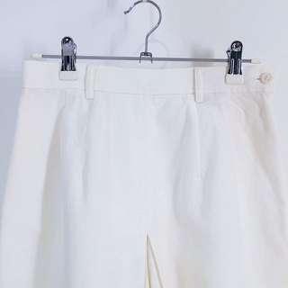 ELLE® ✼白色棉麻褲裙 ✼ 清新夏季淺色  小A字中長短褲  休閒sportie 90s 日本古着 Vintage