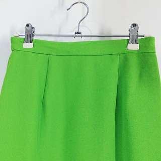 ✼亮綠A字短裙✼ 春夏螢光 飽和亮色 mini 膝上裙 スカート 80s 90s 下北澤 日本古着 Vintage