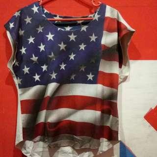 Baju motif bendera amerika