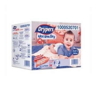 Drypers Wee Wee Dry M52 x 4packs (208 pcs) promo #baby30
