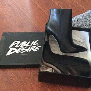 *NEW PRICE* Black Leather Booties