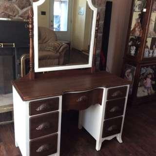 Refinished dresser/Vanity with mirror