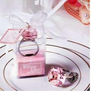 Diamond ring key chain (pink)