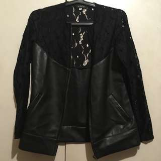 Leather Jacket w/ Lace