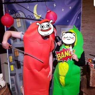 Carrot and pea costume adults