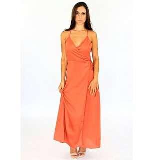 Women's burnt orange maxi wrap dress - sizes 6-12 AUS