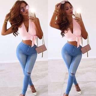 Women's blue denim high waist jeans - sizes 6-12 AUS