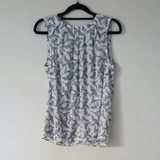 White Sleeveless Top With Bird Print