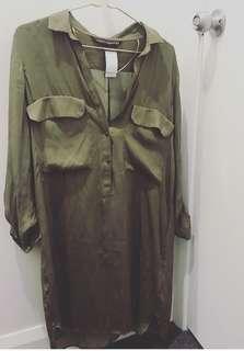 New Zara khaki shirt dress. Size medium