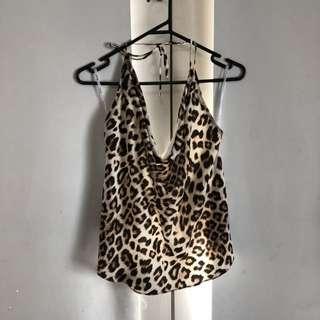 Tie up back singlet leopard print