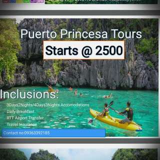 Puerto Princesa Tour Package  @2500/pax Sale :)  minimum  of 2 :)  Kulayan Na Natin Best Yung Plano Mo:)  @M&ATraveLifeAgency