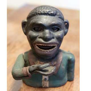 "Antique ""Jolly Nigger"" Cast Iron Mechanical Bank, ca. 1890"