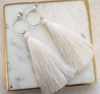 White Tassel Sterling Silver Earrings