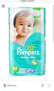 Pampers Dry Tape M size 52pieces