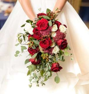 Cascading Bridal Bouquet in Red Roses and Rustic Leaves / Beauty and Beast Theme Enchanted