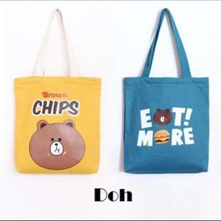 Doh Canvas Tote Bag, with inner zipper.
