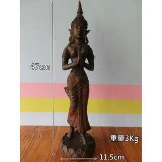 泰國 早期銅雕人像古物件收藏 東南亞 銅像工藝品 家飾擺飾品