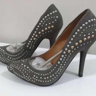 Grey studded heels, size 36