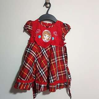 PL good condition Red Sofia Princess short sleeve burberry plaid dress for girl children toddler size 1