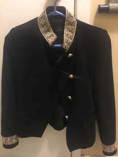 Black Velvet Blazer with Gold Detailing