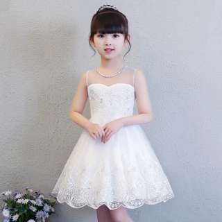 Rhinestones White Wedding Dress Girls Kids