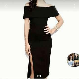 OFFSHOULDER BLACK DRESS