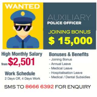 Auxiliary Police Officer (Armed, monthly gross up to $3,300)