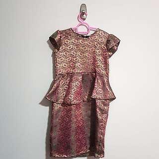 BN brand new purple gold satin short sleeve long dress baju kurung peplum for hari raya girl children kids toddler size 3 for 3-4yr old