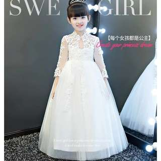 Classic Lace Long sleeves White Wedding Gown Flower Girls