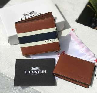 Authentic COACH latest men's leather flip wallet set