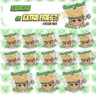 Extra Fries Stickers - Planner Stickers - Kawaii Stickers