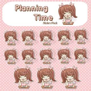 Planning Time Stickers - Planner Stickers - Kawaii Stickers