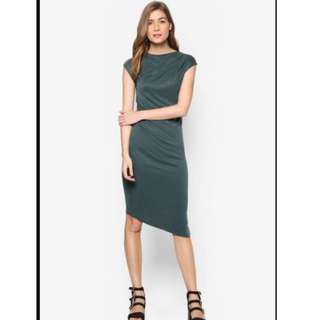Topshop Ruched Midi Dress in Dark Green