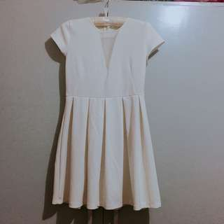 White dress with Sheer V-neck Cut