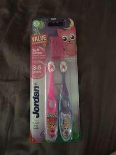 BNIP Jordan mermaid and animal toothbrush set (3-5Y)