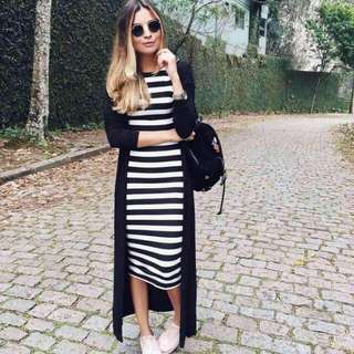 🍃Midi Striped Dress with Long coat
