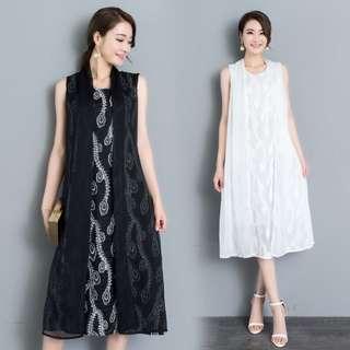 MD660 歐根紗料假兩件套緹花圖案連身裙 (M L XL)