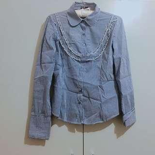 Blue Ruffled Stripes Shirt