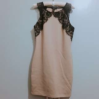 Espresso Brown Dress with Black Lace Detail