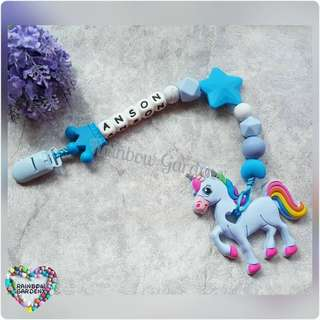 Handmade Customized Pacifier Clip with letter beads + Blue Unicorn Teether