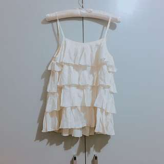White Ruffle Top with Lacey Back Detail