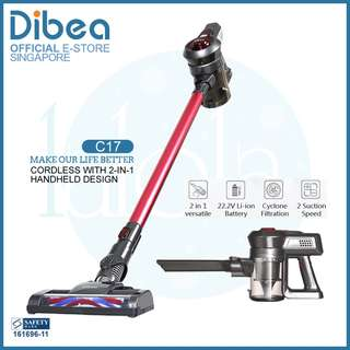 ✔FREE DELIVERY:  Dibea New C17 DUO Cyclone Cordless 2 in 1 Powerful Rage Cordless Vacuum Cleaner ★ Good for Pets , car , baby and new HDB bto or condo owners. Not Dyson.