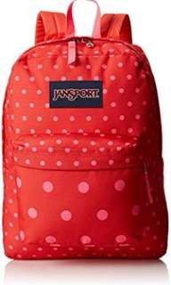 Preloved💯 🔥Jansport Superbreak Coral Dusk Dots Backpack