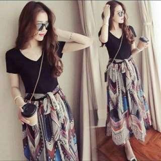 Black Dress #Korean Dress #with Belt