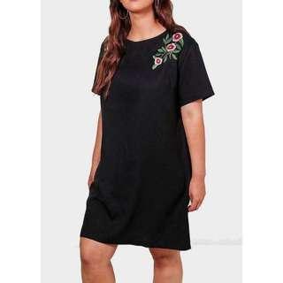 Plussize! Plain Embroided Dress