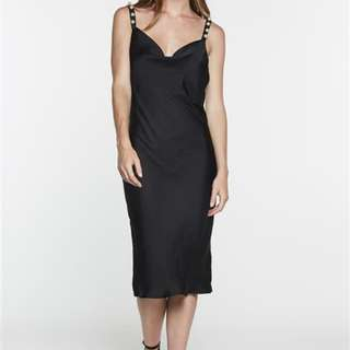 CURRENT STOCK 😊 Bardot Black 90s slip silk dress with pearl details