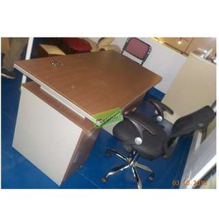 FST-5003 OFFICE TABLE W FIXED CABINET 1.2 LIGHT BROWN--KHOMI
